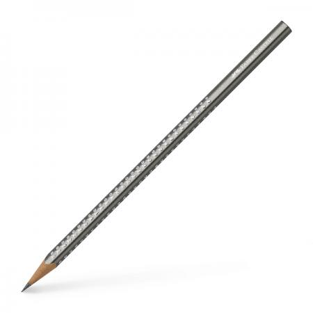 Creion grafit B corp argintiu, FABER-CASTELL Grip Sparkle