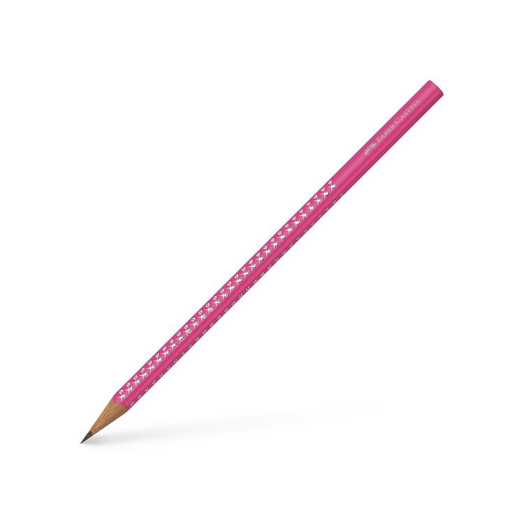 Creion grafit B corp roz neon, FABER-CASTELL Grip Sparkle
