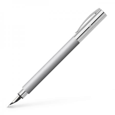 Stilou de lux F corp metalic argintiu, FABER-CASTELL Ambition Metal