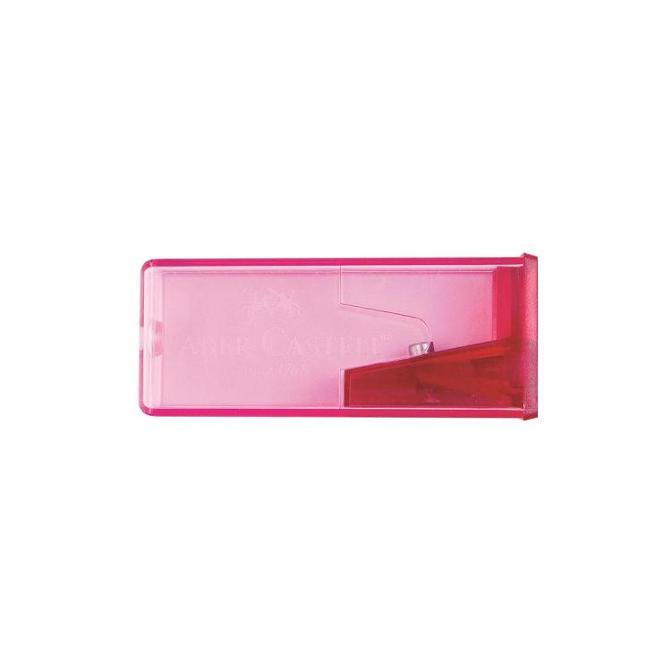 Ascutitoare plastic simpla cu container culori fluorescente, FABER-CASTELL