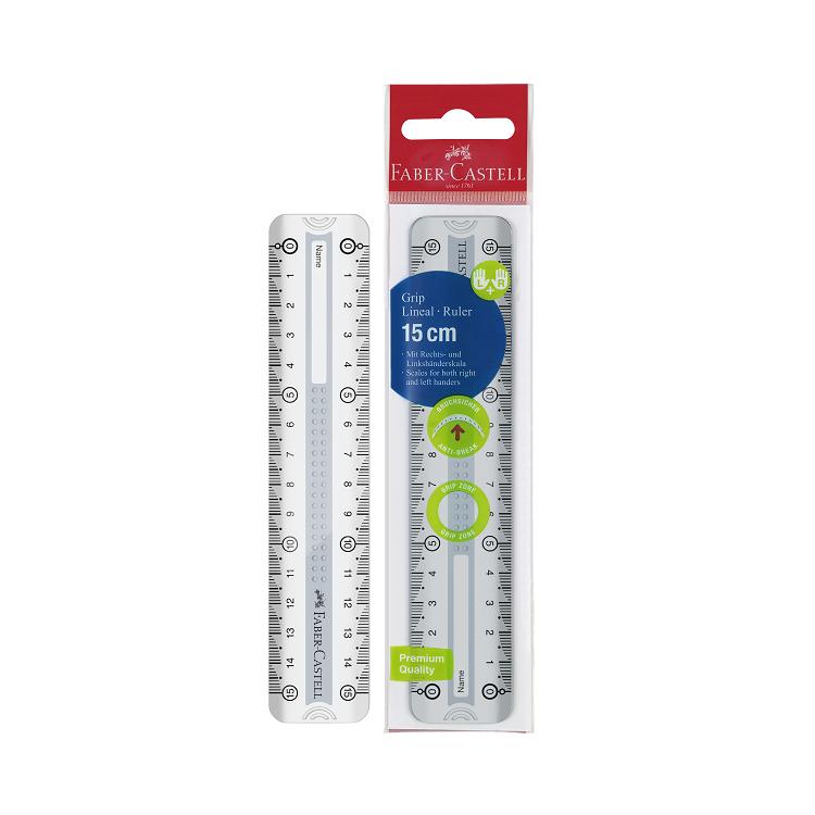 Rigla plastic 15cm cu grip gri, FABER-CASTELL