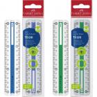 Rigla plastic 15cm cu grip albastru/verde, FABER-CASTELL