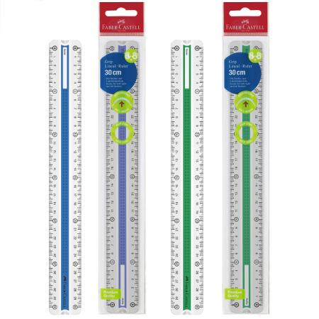 Rigla plastic 30cm cu grip albastru/verde, FABER-CASTELL