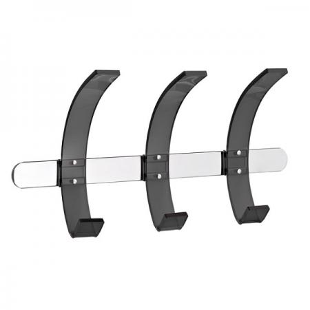 Cuier metalic de perete argintiu cu 3 agatatori din acril, ALCO Design