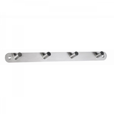 Cuier metalic de perete argintiu cu 4 agatatori, ALCO