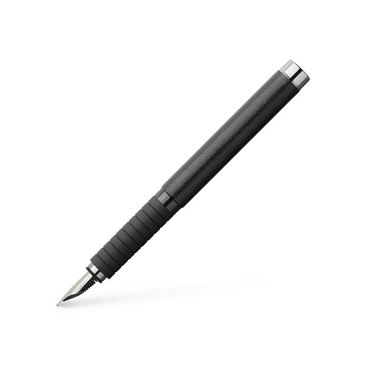 Stilou de lux M corp negru piele, FABER-CASTELL Basic Black