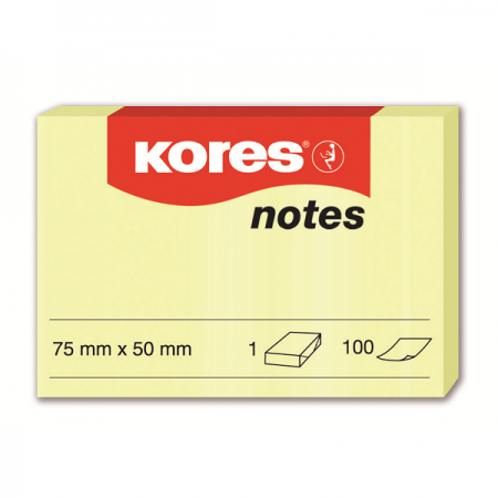 Notes adeziv 50x75mm galben pal 100 file, KORES