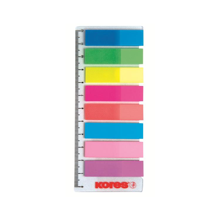 Index adeziv plastic 12x45mm 25 file x 8 culori + RIGLA, KORES
