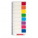 Index adeziv plastic REINSCRIPTIBIL 12x45mm 15 file x 8 culori, KORES