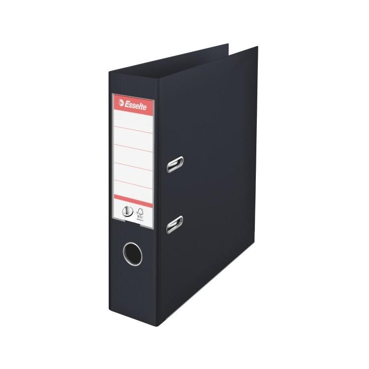 Biblioraft dublu plastifiat 7.5cm negru, ESSELTE Standard Vivida