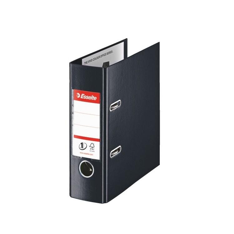Biblioraft dublu plastifiat A5 7.5cm negru, ESSELTE Standard Vivida