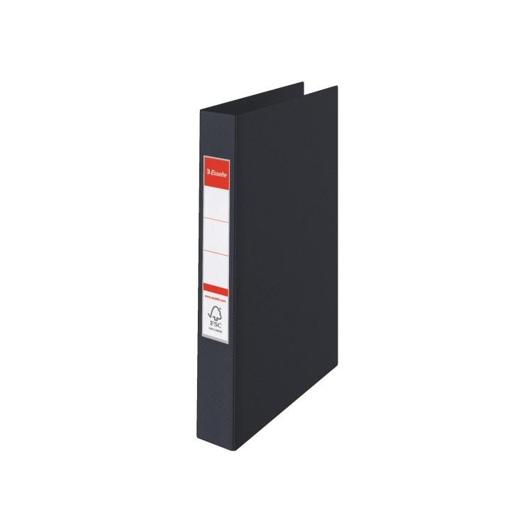 Caiet mecanic 4 inele 35mm PVC negru, ESSELTE Standard