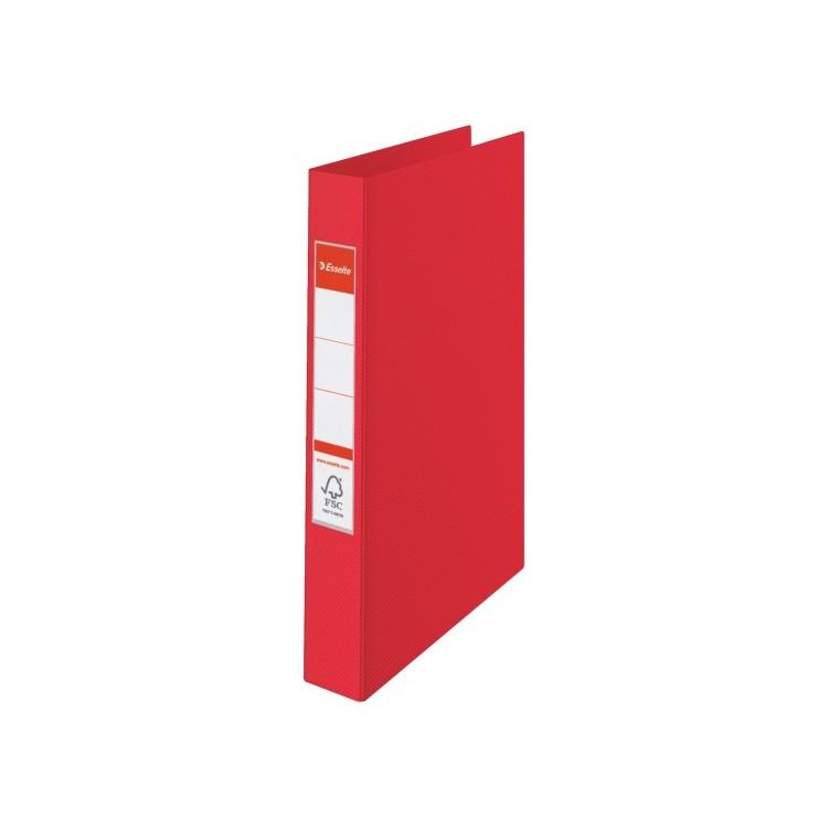 Caiet mecanic 4 inele 35mm PVC rosu, ESSELTE Standard