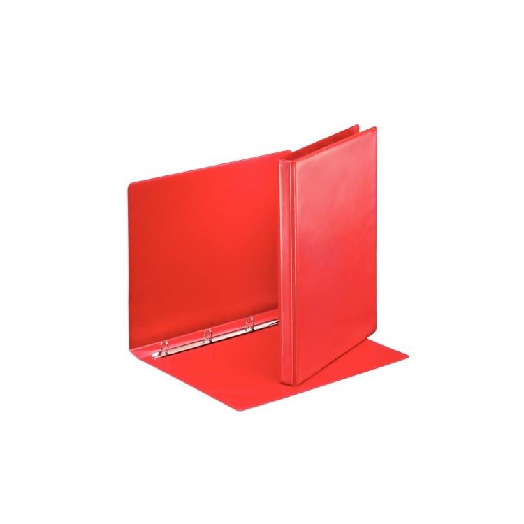 Caiet mecanic cu buzunar 4 inele 30mm PP rosu, ESSELTE Panorama