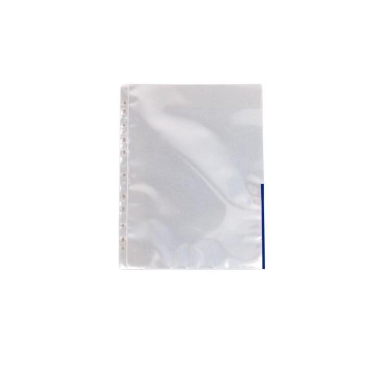 Folie protectie documente A4 105mic cristal margine albastra, ESSELTE