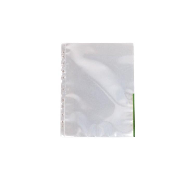 Folie protectie documente A4 105mic cristal margine verde, ESSELTE