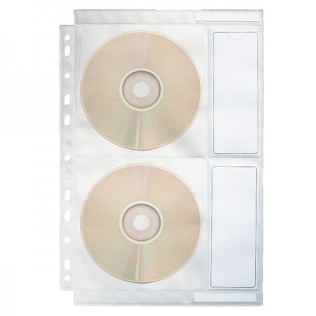 Folie protectie documente A4 2 CD/DVD cristal 5 buc/set, ESSELTE