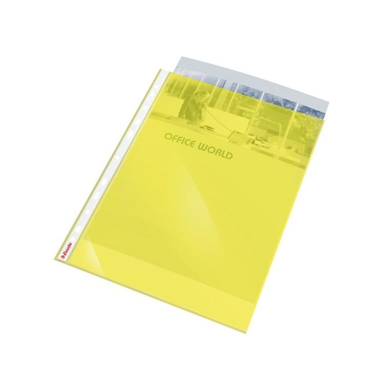 Folie protectie documente A4 55mic cristal galbena 10 buc/set, ESSELTE