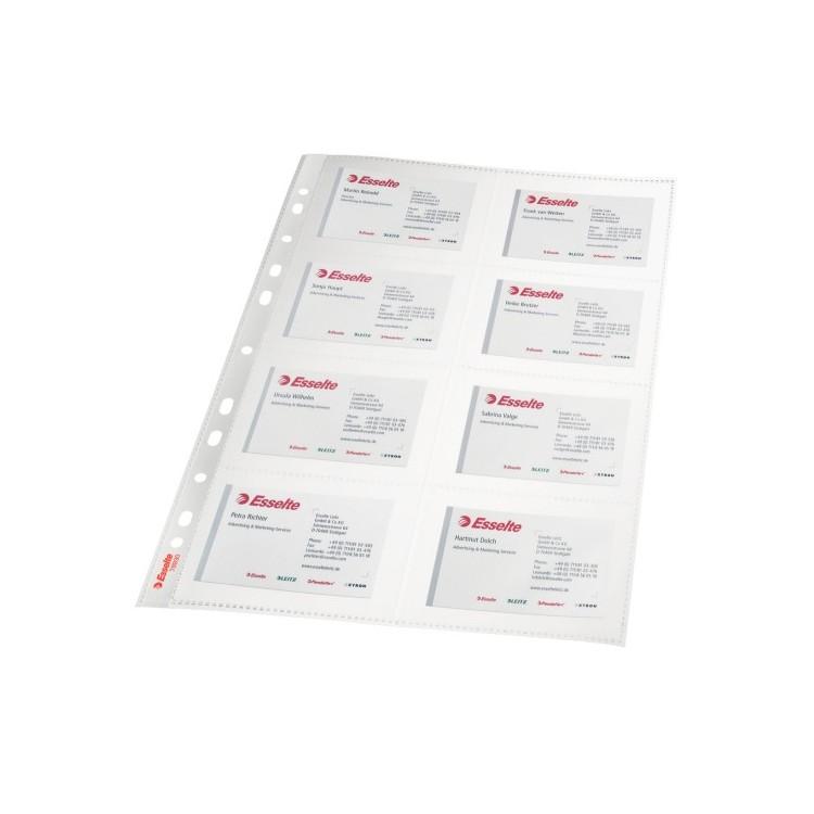 Folie protectie documente A4 carti de vizita 105mic cristal 10 buc/set, ESSELTE