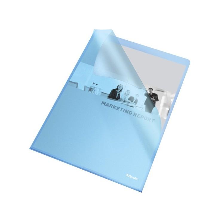 "Folie protectie documente A4 deschidere ""L"" 105mic albastra, ESSELTE"
