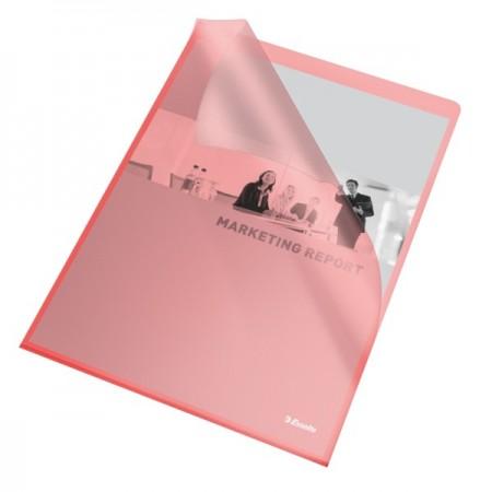 "Folie protectie documente A4 deschidere ""L"" 105mic rosie, ESSELTE"