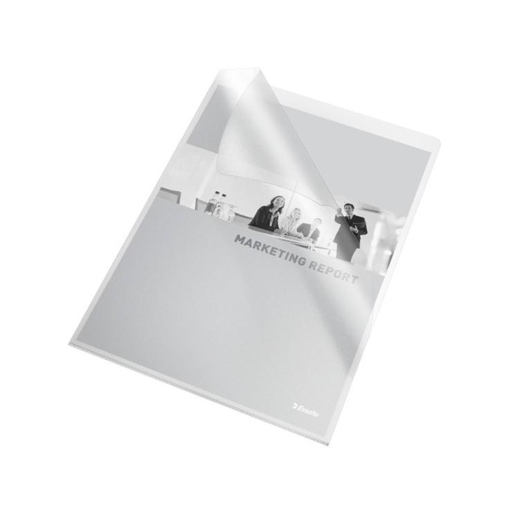 """Folie protectie documente A4 deschidere """"L"""" 105mic transparenta, ESSELTE"""