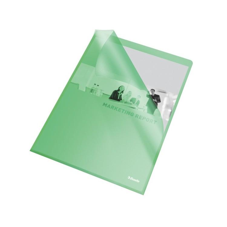 """Folie protectie documente A4 deschidere """"L"""" 105mic verde, ESSELTE"""