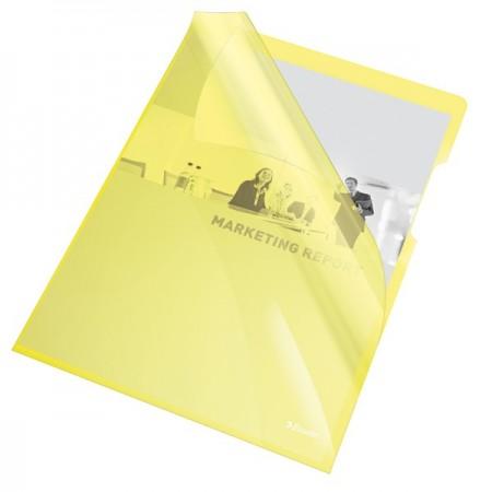 "Folie protectie documente A4 deschidere ""L"" 150mic cristal galbena, ESSELTE"