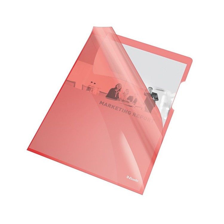 "Folie protectie documente A4 deschidere ""L"" 150mic cristal rosie, ESSELTE"