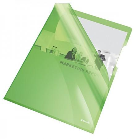 """Folie protectie documente A4 deschidere """"L"""" 150mic cristal verde, ESSELTE"""