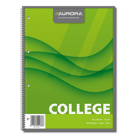 Caiet A4 cu spira 80 file dictando 70g/mp coperti carton, AURORA College