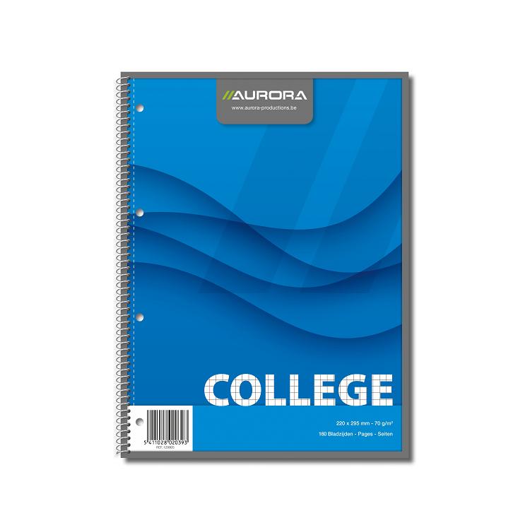 Caiet A4 cu spira 80 file matematica 70g/mp coperti carton, AURORA College