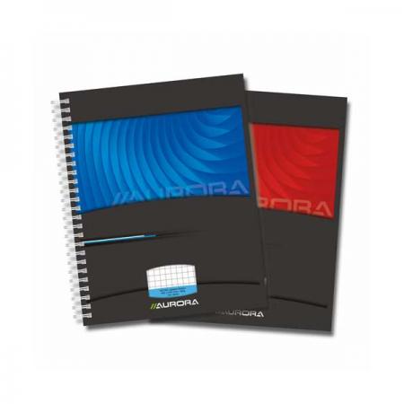 Caiet A5 cu spira 50 file matematica 90g/mp coperti carton, AURORA Mano