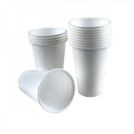 Pahare plastic 200ml alb 100 buc/set, OTI Economic