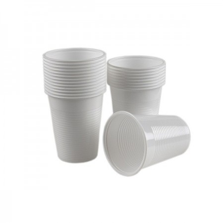 Pahare plastic 200ml alb 100 buc/set, DOPLA