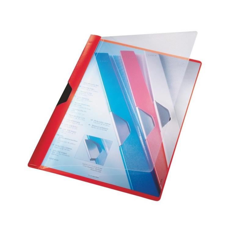 Dosar plastic cu clema rosu, LEITZ Clipsy Plus
