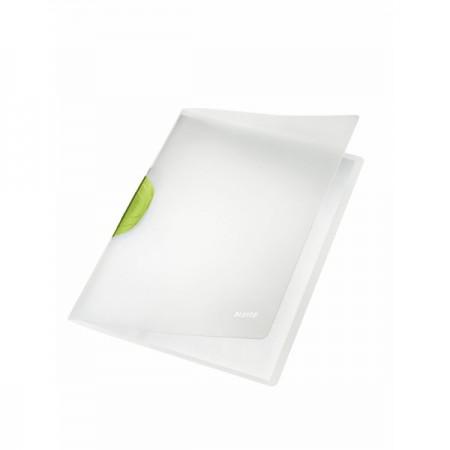 Dosar plastic cu clema pivotanta alb (clema verde), LEITZ Colorclip Magic
