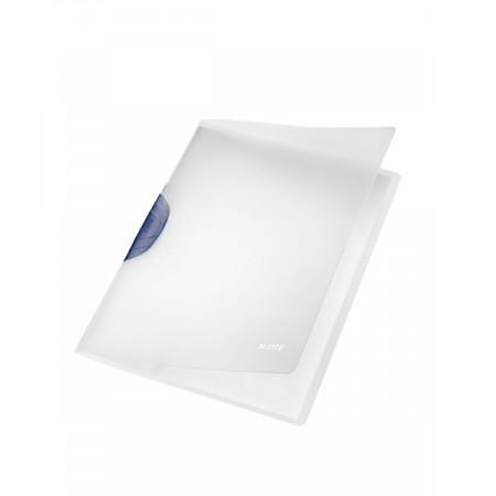 Dosar plastic cu clema pivotanta alb (clema gri), LEITZ Colorclip Magic
