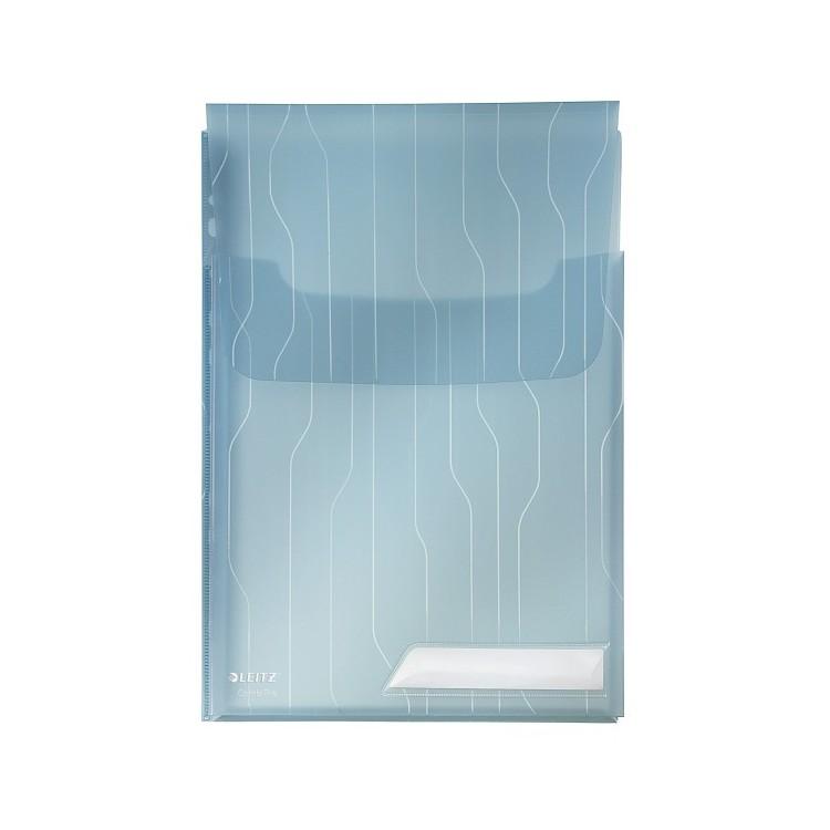 Folie/Mapa protectie documente A4 burduf 2cm si clapa 200mic albastra transparent 3 buc/set, LEITZ Combifile Jumbo