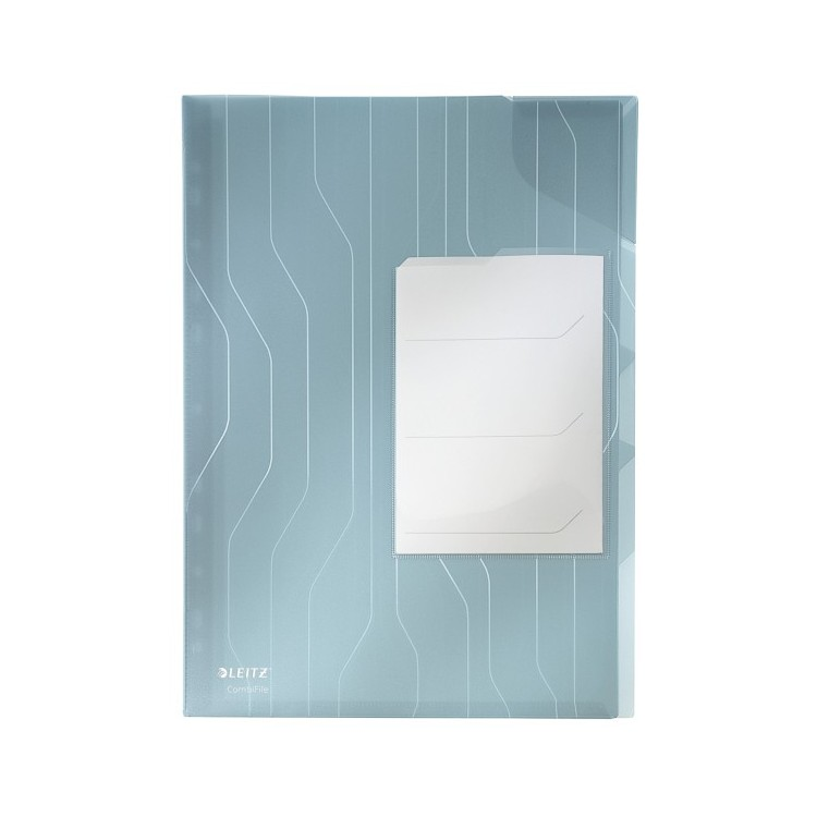 Folie/Mapa protectie documente A4 cu 3 separatoare 200mic albastra transparent 3 buc/set, LEITZ Combifile Jumbo