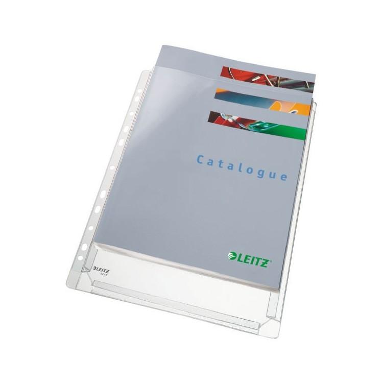 Folie protectie documente A4 burduf 20mm 170mic transparenta 5 buc/set, LEITZ Jumbo
