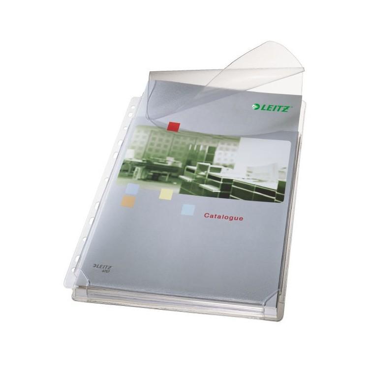Folie protectie documente A4 burduf 20mm si clapa 170mic transparenta 5 buc/set, LEITZ Jumbo