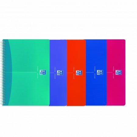 Caiet 90x140mm cu spira 90 file matematica coperti PP, OXFORD My Colours
