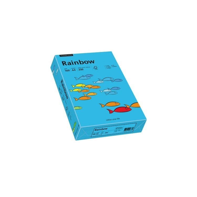 Carton A4 160g/mp 250 coli/top albastru intens, RAINBOW