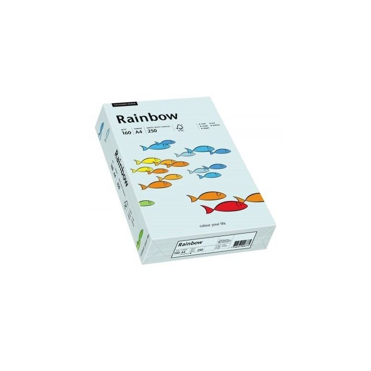 Carton A4 160g/mp 250 coli/top albastru pal, RAINBOW
