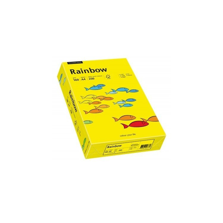 Carton A4 160g/mp 250 coli/top galben intens, RAINBOW