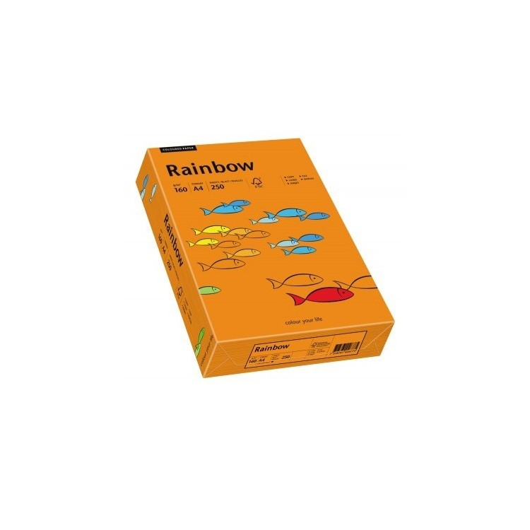Carton A4 160g/mp 250 coli/top portocaliu intens, RAINBOW