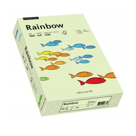Carton A4 160g/mp 250 coli/top verde pal, RAINBOW