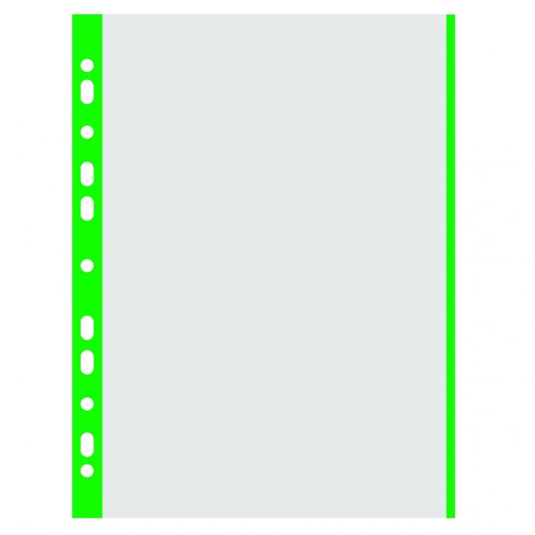 Folie protectie documente A4 40mic cristal margine verde 100 buc/set, DONAU