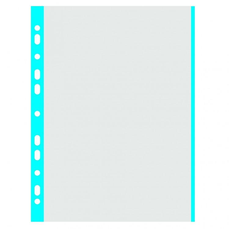 Folie protectie documente A4 40mic cristal margine albastra 100 buc/set, DONAU